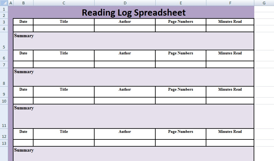 Reading Log Spreadsheet Template - Excel Spreadsheet Templates