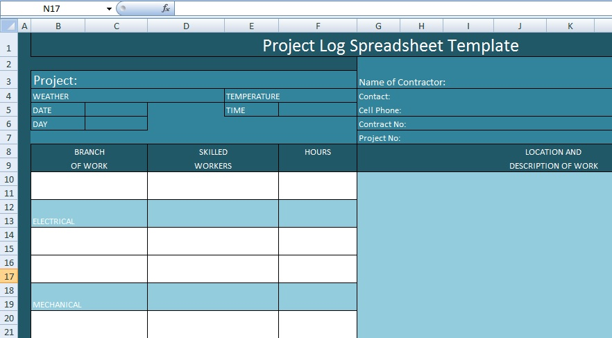Project Management Log Spreadsheet Template - Excel Spreadsheet ...
