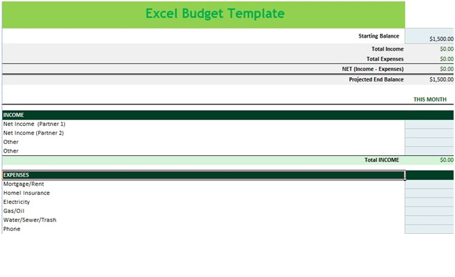 Income and Expense Budget Spreadsheet