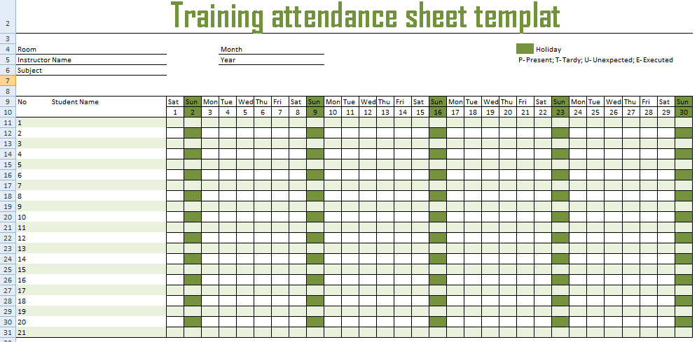 Excel training record template