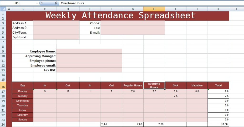 2 weekly attendance spreadsheet templates excel spreadsheet templates