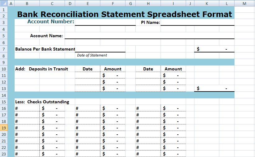 download bank reconciliation statement spreadsheet format