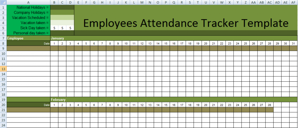 Daily Employee Attendance Tracking Spreadsheet
