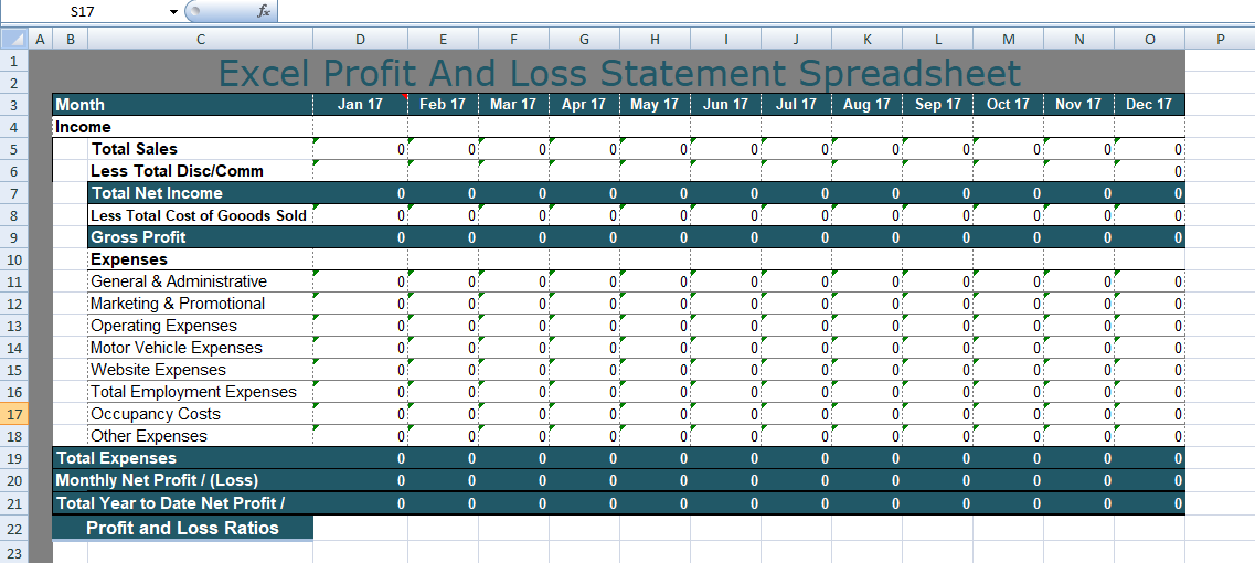 Excel Profit And Loss Statement Spreadsheet Format  Excel Profit Loss Template