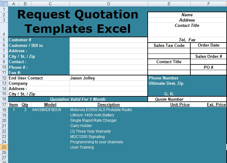 Request Quotation Templates Excel Free  Spreadsheettemple