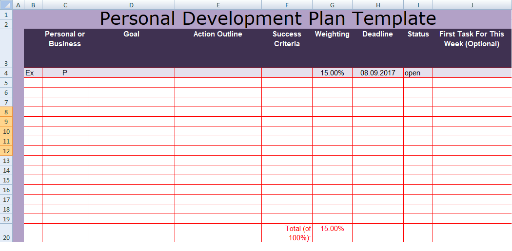 Format Of Personal Development Plan Template Excel  Personal Development Portfolio Template