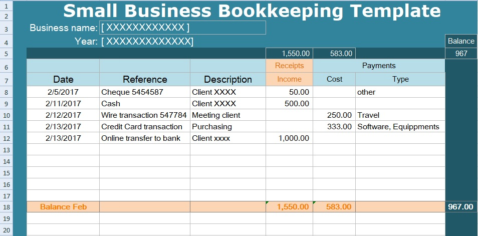 Small business bookkeeping template spreadsheet spreadsheettemple small business bookkeeping template format flashek Images