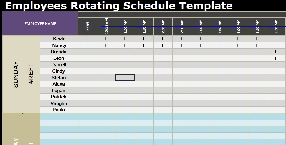 Employees Rotating Schedule Template - Excel Spreadsheet Templates