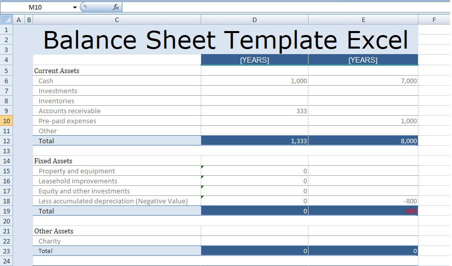 balance sheet template excel free spreadsheettemple