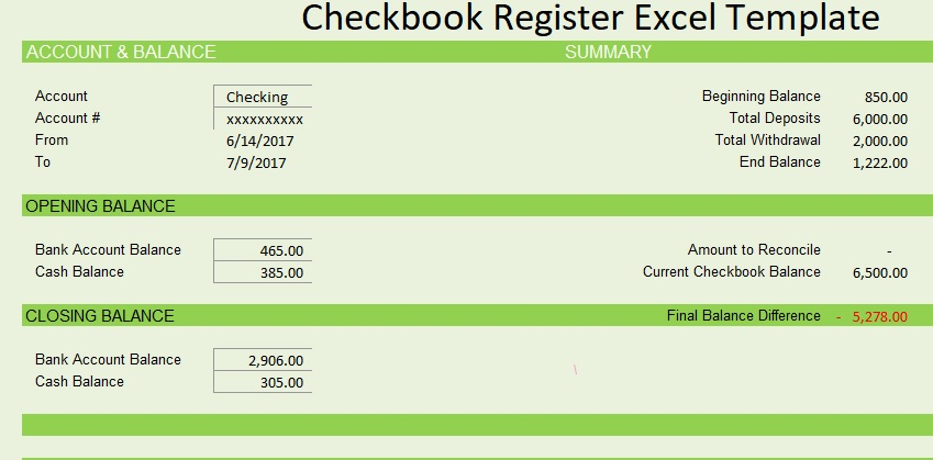 Checkbook Register Template Free Format And Features