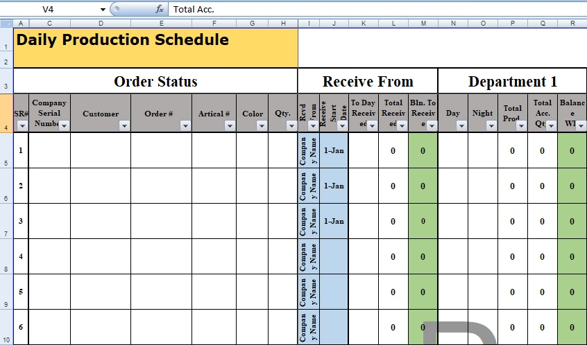 daily production schedule template format spreadsheettemple. Black Bedroom Furniture Sets. Home Design Ideas
