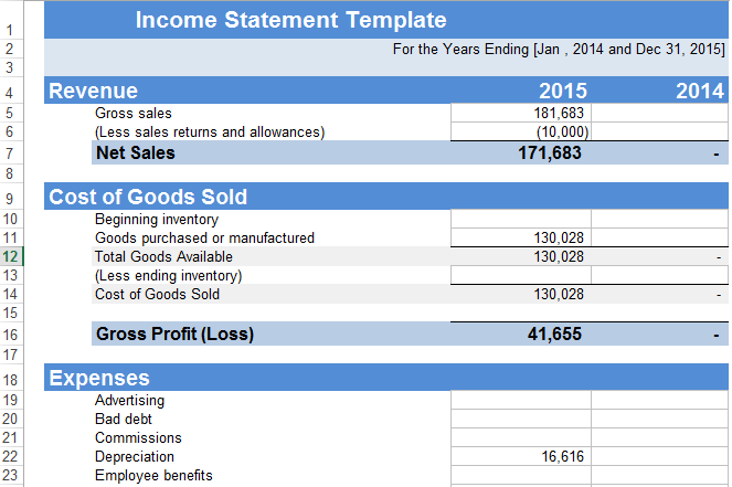 income statement template excel free spreadsheettemple. Black Bedroom Furniture Sets. Home Design Ideas