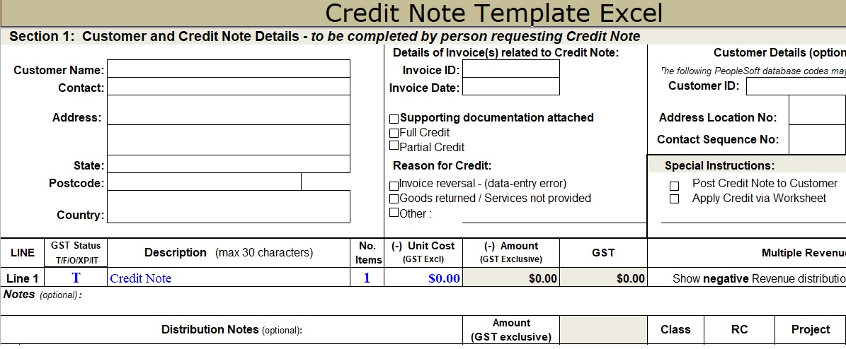 Credit Note Template Excel Free