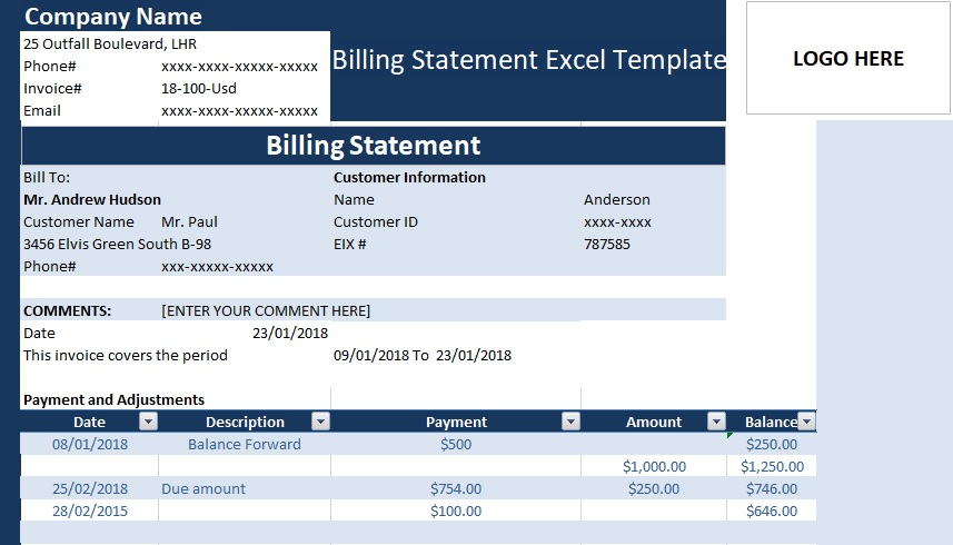 Billing Statement Excel Template