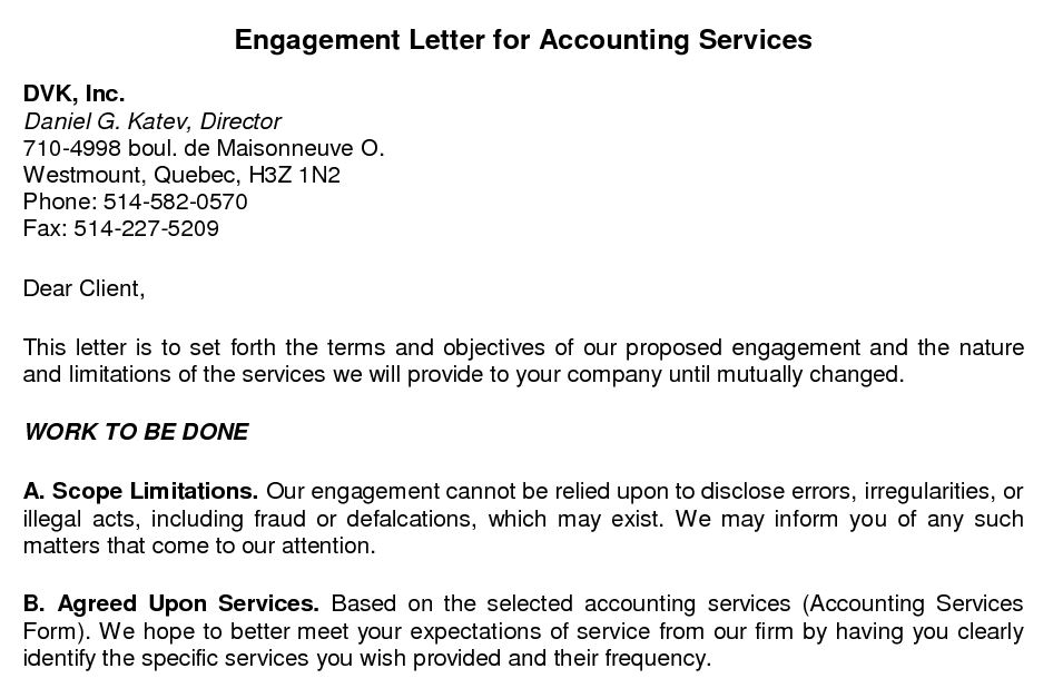 Bookkeeping Engagement Letter Template