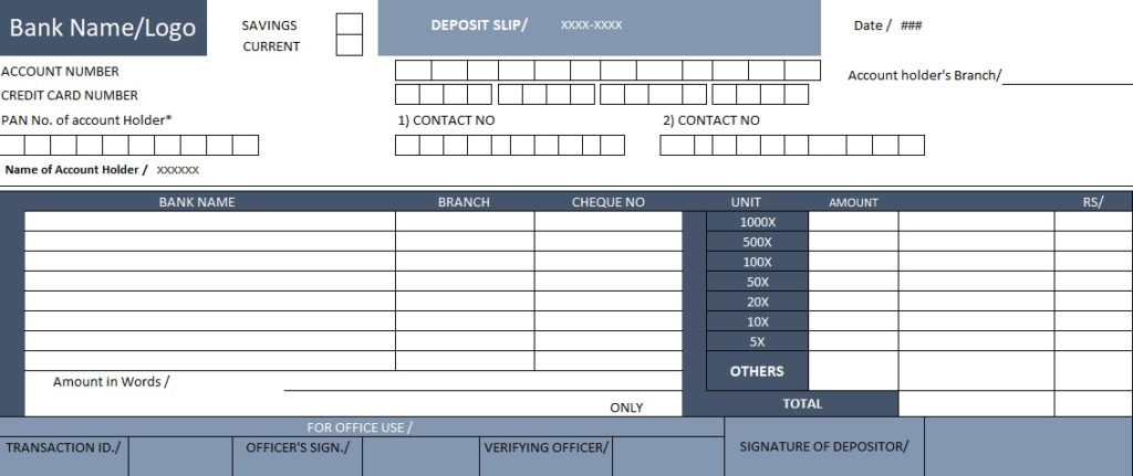 Download bank deposit slip template spreadsheettemple for Checking deposit slip template