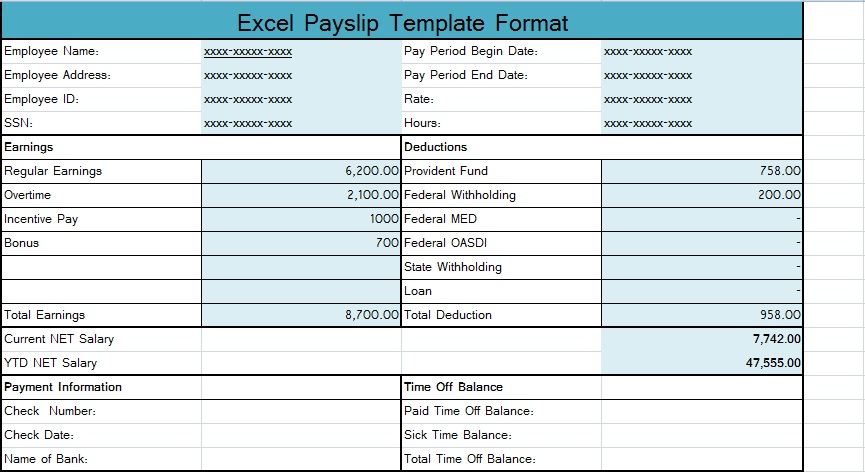 Download Excel Payslip Template Format | SpreadsheetTemple