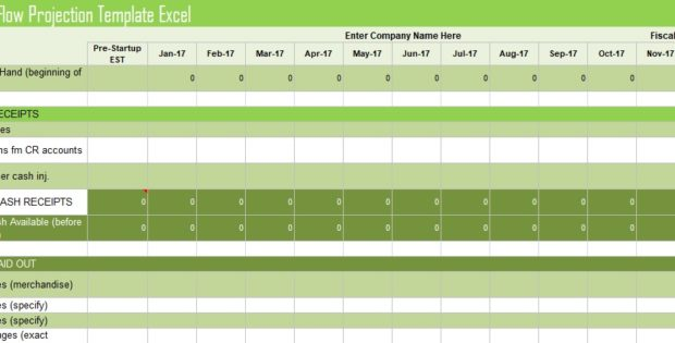Cash Flow Projection Template Excel