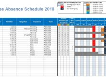 Employee Absence Schedule 2018