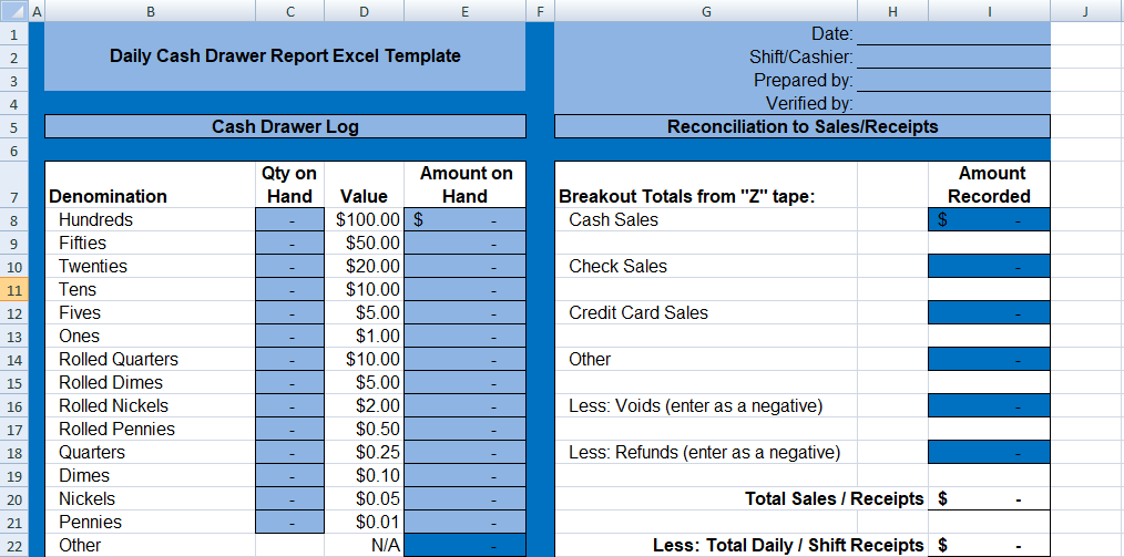 Daily Cash Drawer Report Excel Template Spreadsheettemple