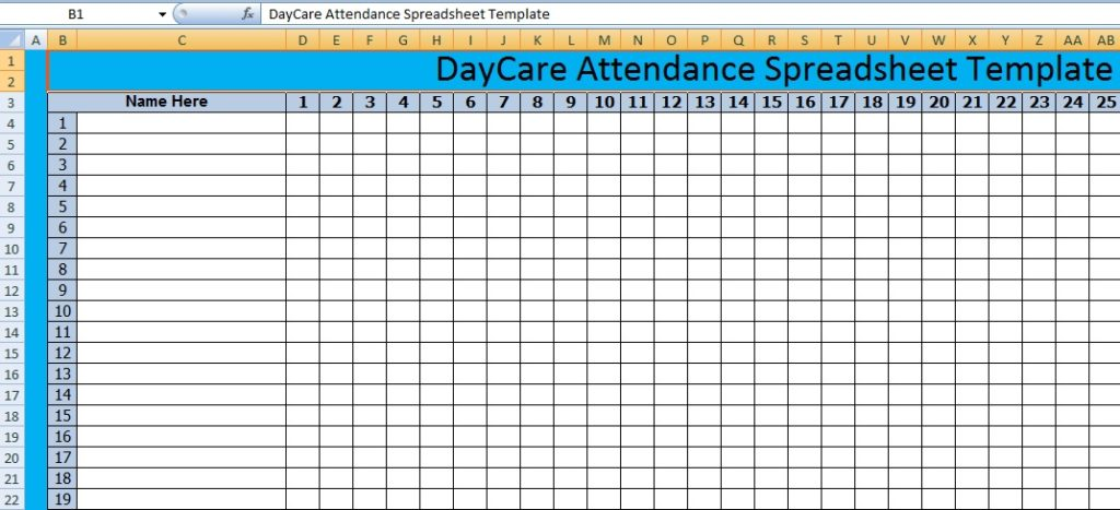 DayCare Attendance Spreadsheet Templates