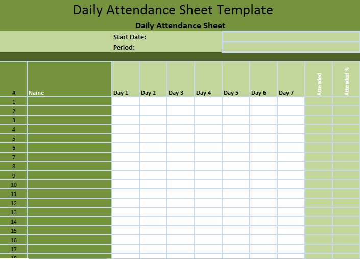 Staff Attendance Spreadsheet Template