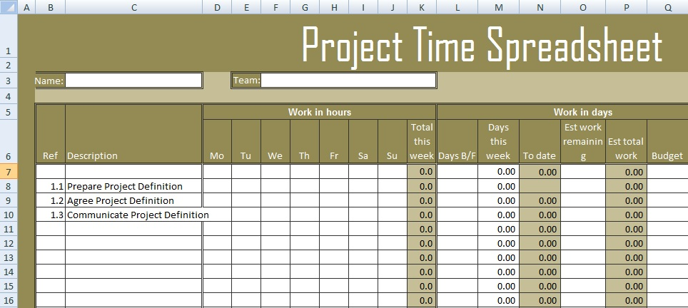 get project time spreadsheet template excel