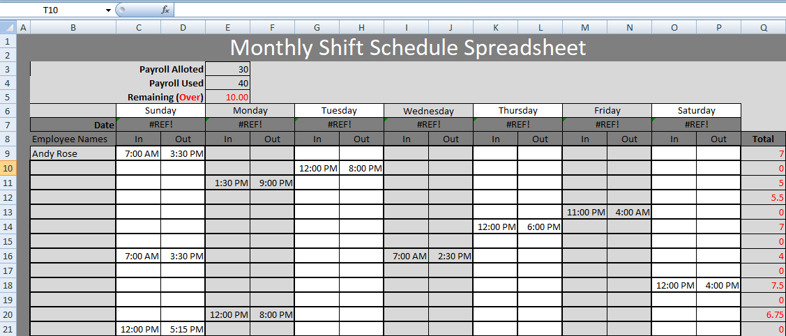 Monthly Shift Schedule Spreadsheet Templates
