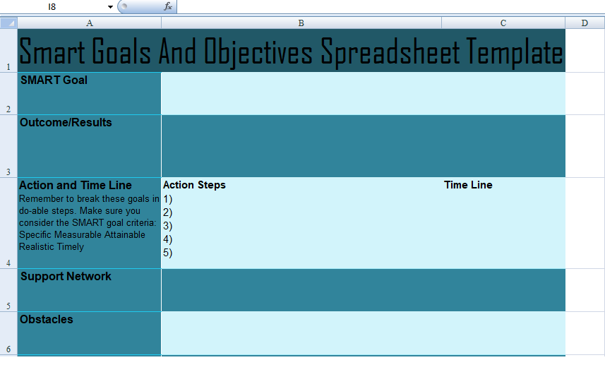 Smart Goals And Objectives Spreadsheet Template
