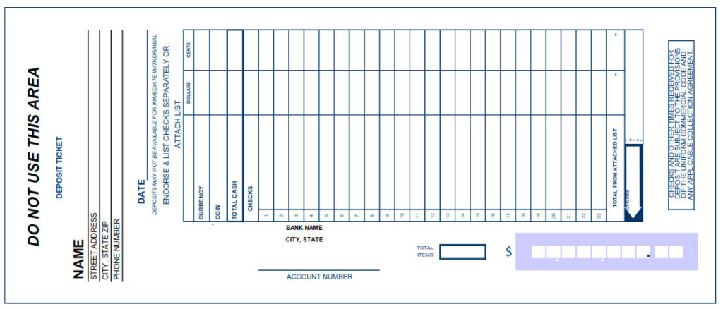 Playful image in printable deposit slip