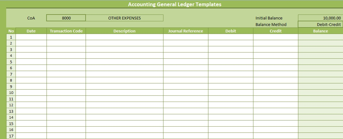 subsidiary ledger template - accounting general ledger templates free spreadsheettemple