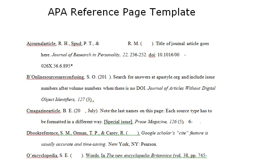Download APA Reference Page Template