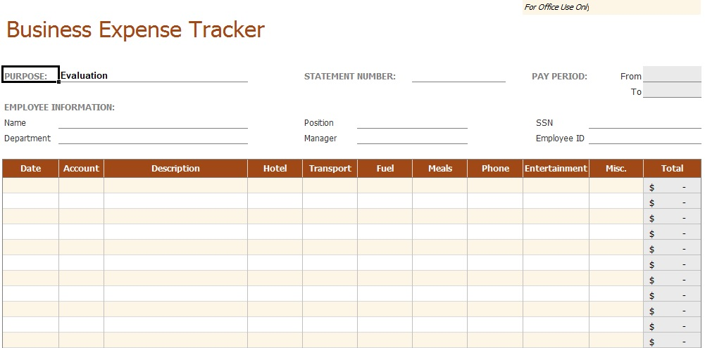 Business Expense Tracker Template
