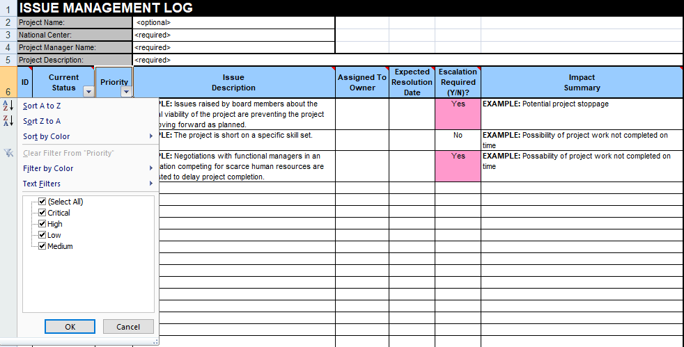 issue tracking template excel free download