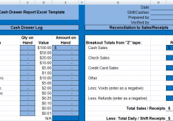 Daily Cash Drawer Report Excel Template