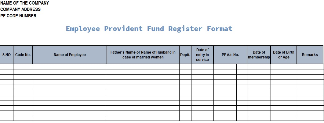 Employee Provident Fund Register Format