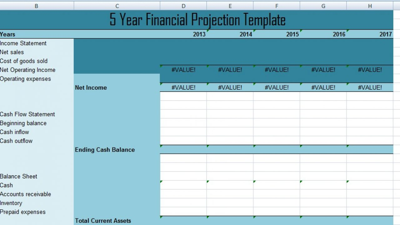 Financial Projection Plan Chart Template